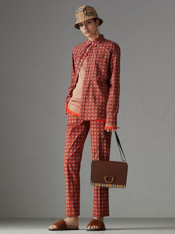 Tiled Archive Print Stretch Cotton Cigarette Trousers in Orange Red