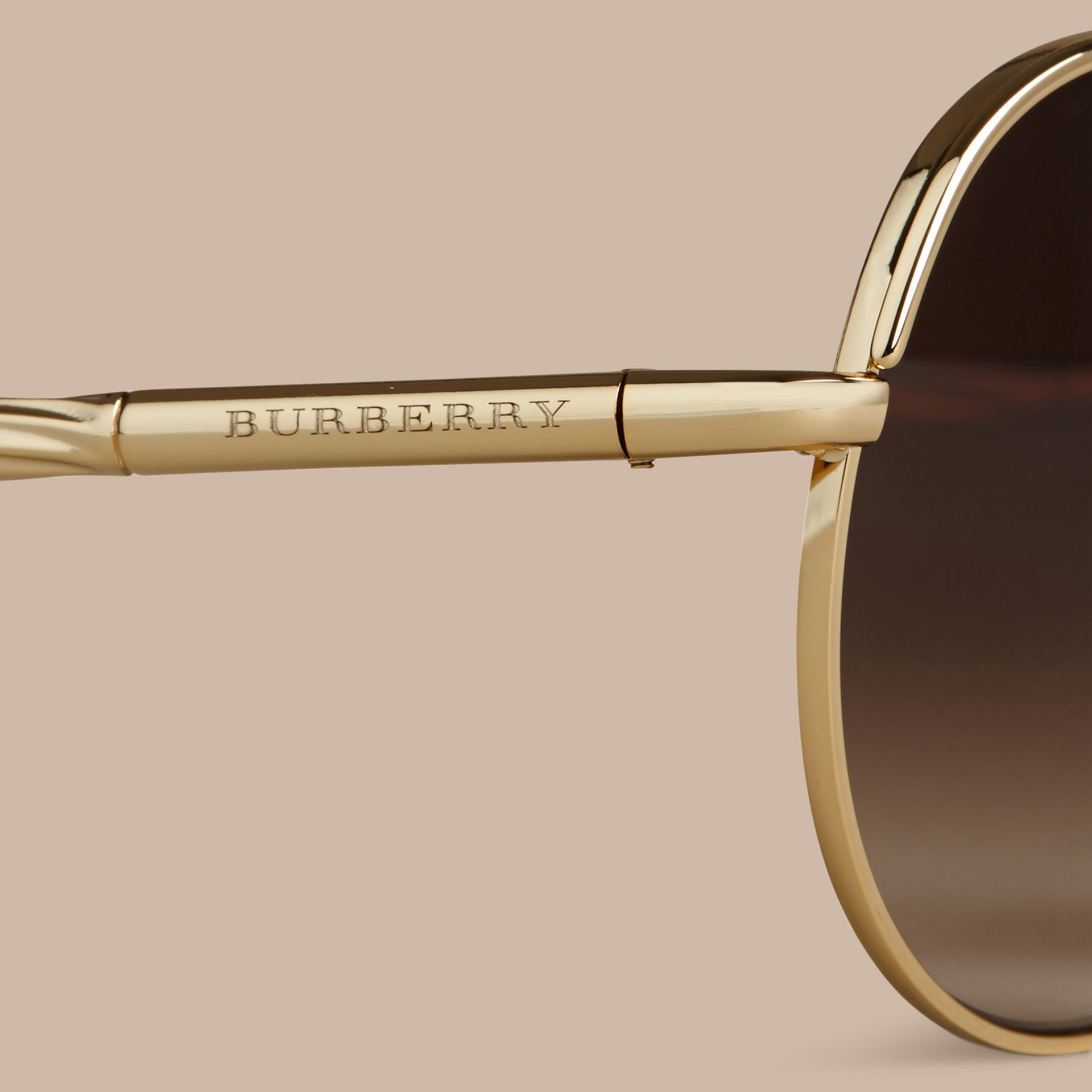 Gold Gabardine Collection Aviator Sunglasses Gold - gallery image 2