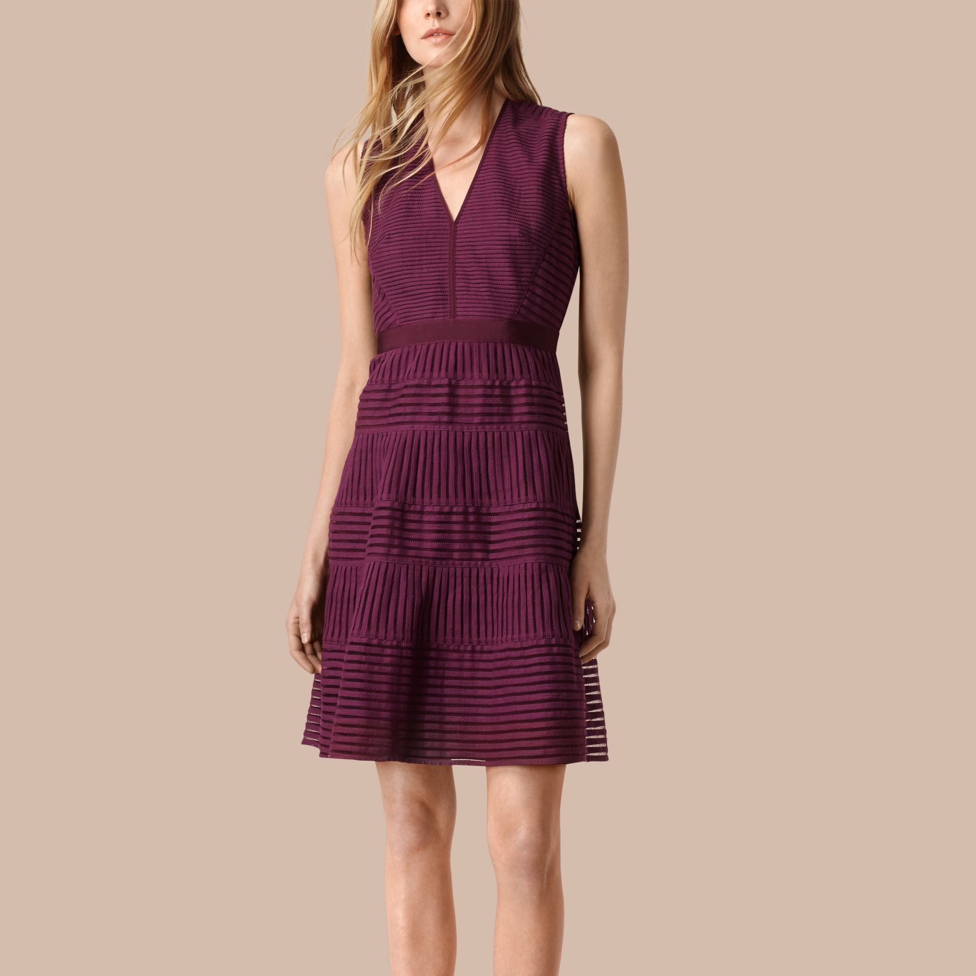 Bright burgundy Panelled Mesh Dress Bright Burgundy - gallery image 1