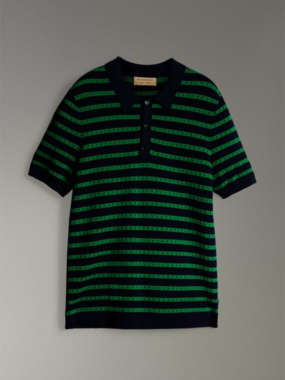 Striped Knitted Cotton Polo Shirt in Deep Navy - Men | Burberry United Kingdom - cell image 3