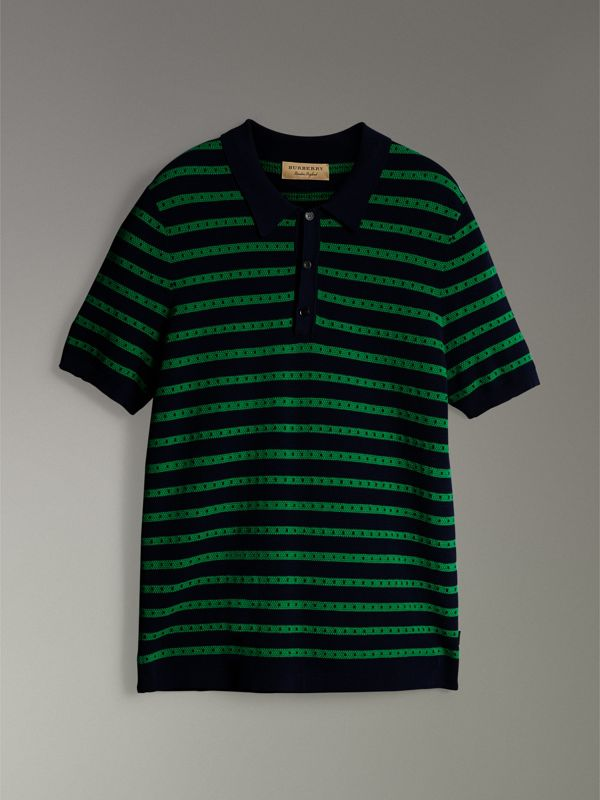 Striped Knitted Cotton Polo Shirt in Deep Navy - Men | Burberry Canada - cell image 3