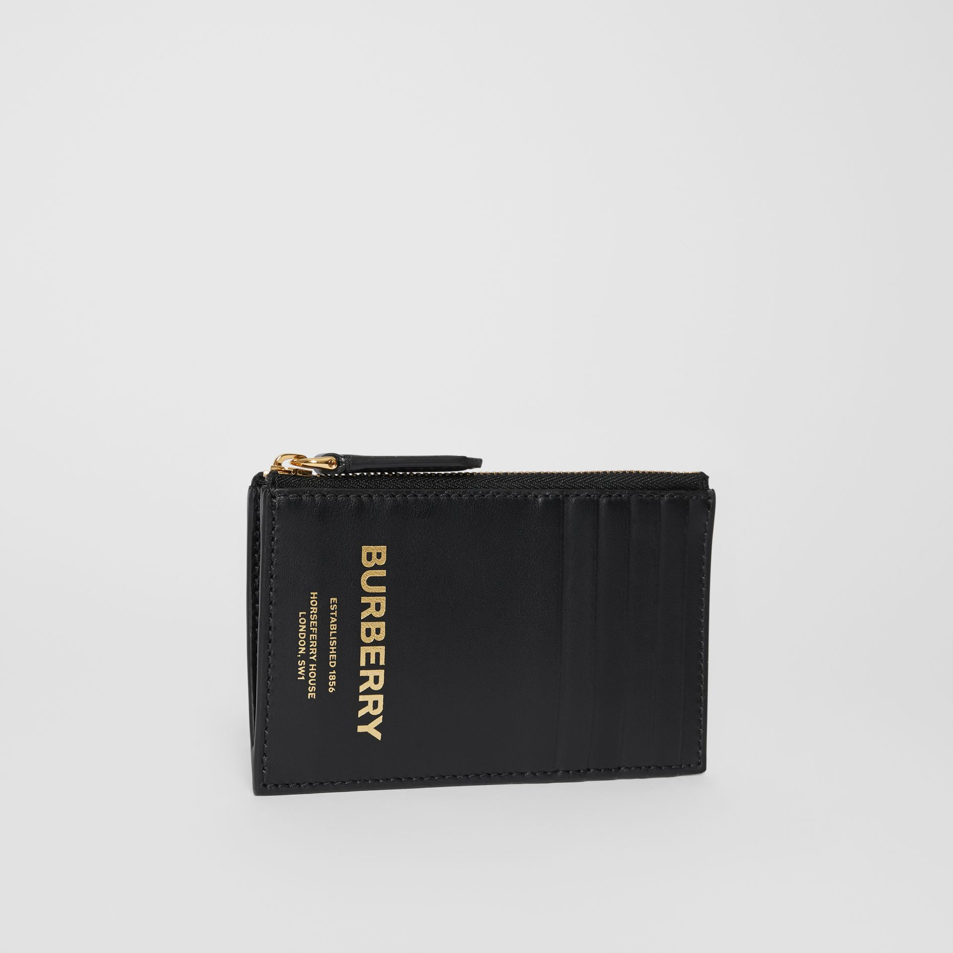Horseferry Print Leather Zip Card Case in Black - Men | Burberry Australia - gallery image 3