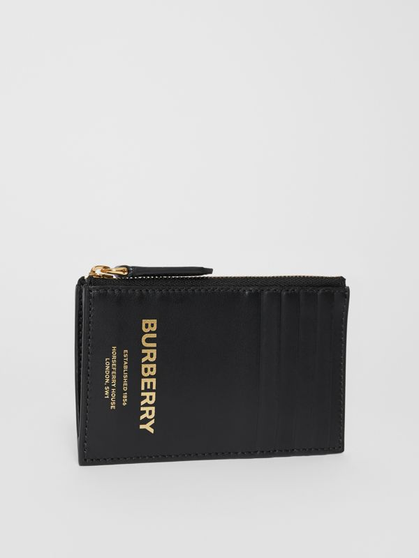 Horseferry Print Leather Zip Card Case in Black - Men | Burberry Canada - cell image 3