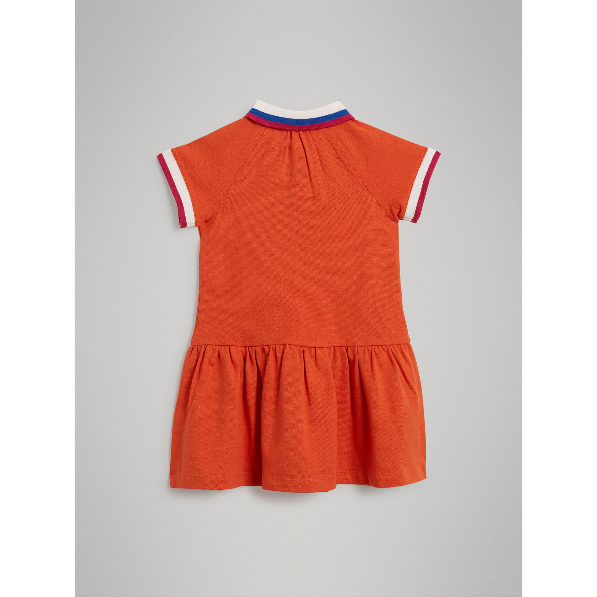 Stretch Cotton Polo Dress in Bright Clementine Melange - Girl | Burberry - gallery image 3