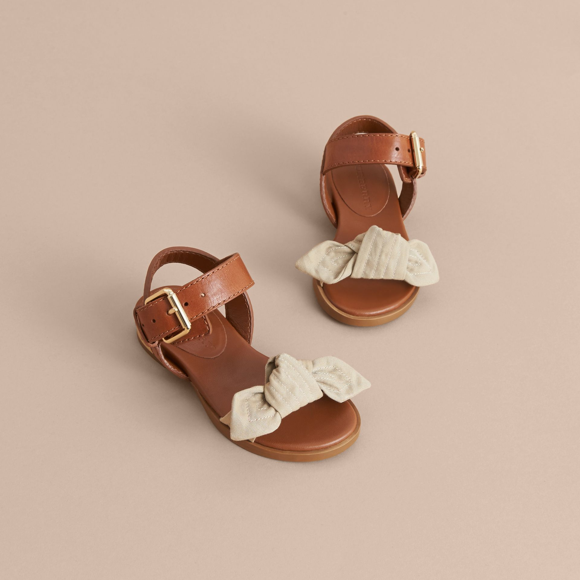 Cotton Gabardine Bow Detail and Leather Sandals - Children | Burberry - gallery image 3
