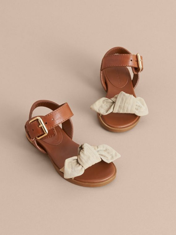 Cotton Gabardine Bow Detail and Leather Sandals - Children | Burberry Canada - cell image 2