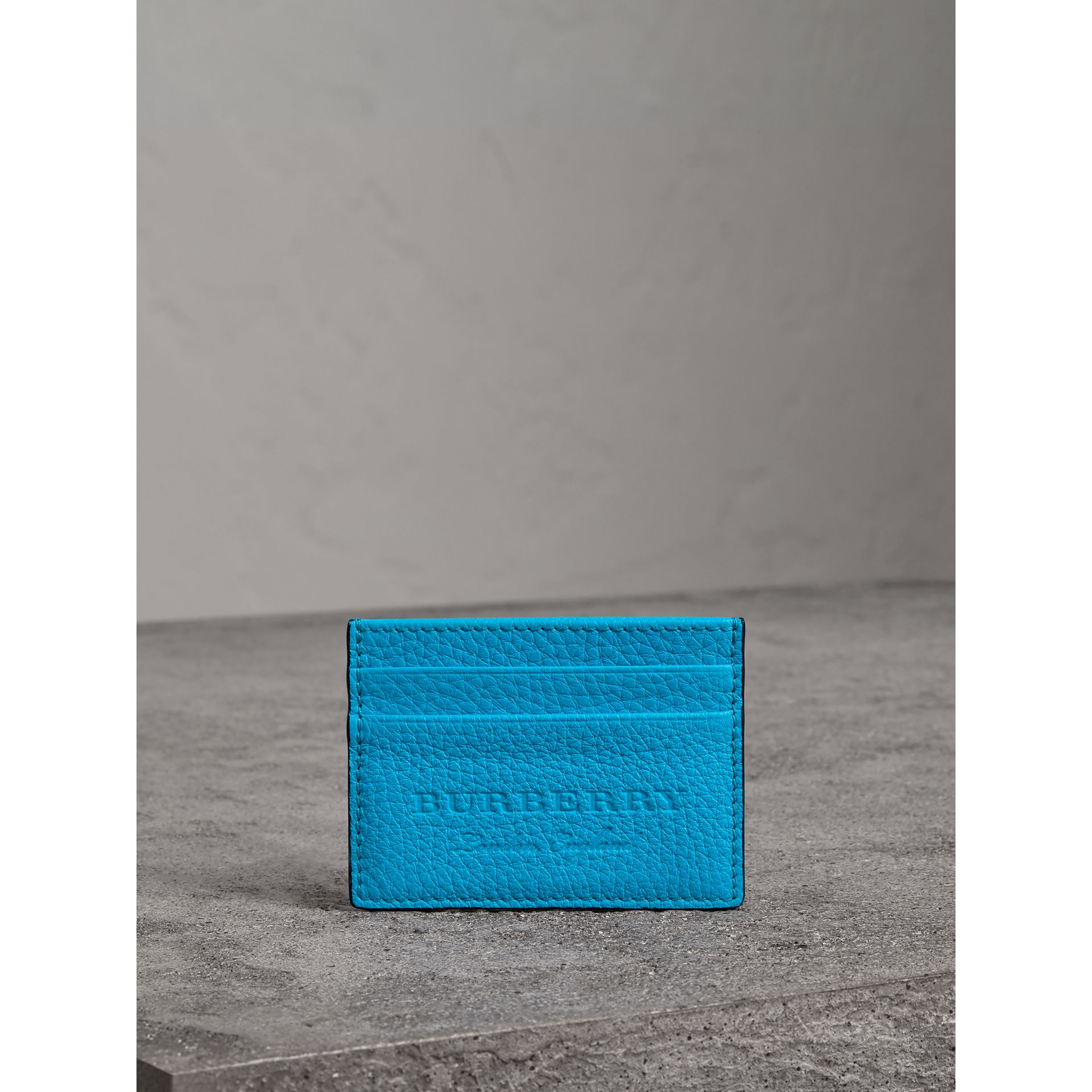 Embossed Textured Leather Card Case in Neon Blue | Burberry - gallery image 3
