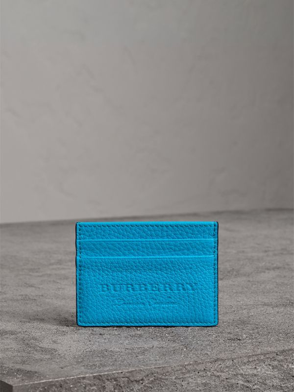Embossed Textured Leather Card Case in Neon Blue | Burberry - cell image 3