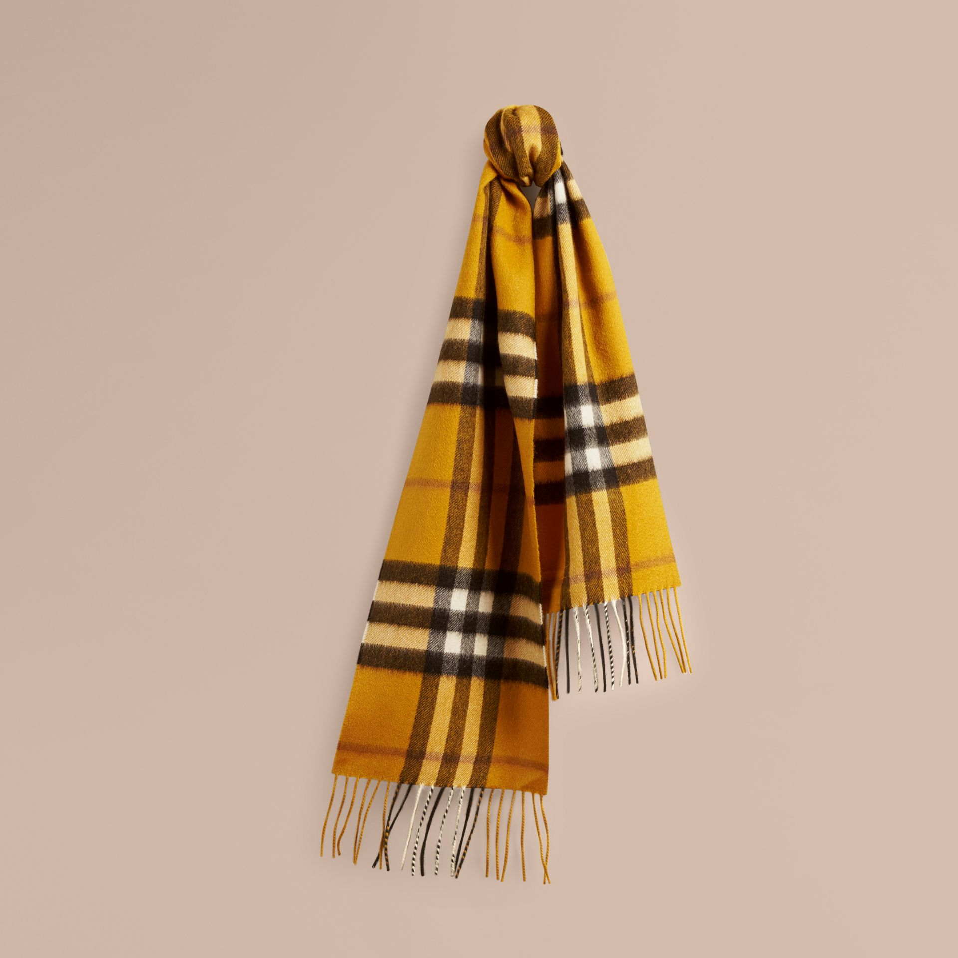 Amber yellow The Mini Classic Cashmere Scarf in Check - gallery image 5