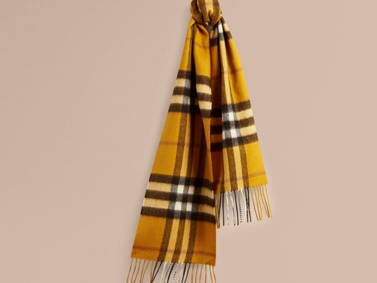 Amber yellow The Mini Classic Cashmere Scarf in Check - cell image 4