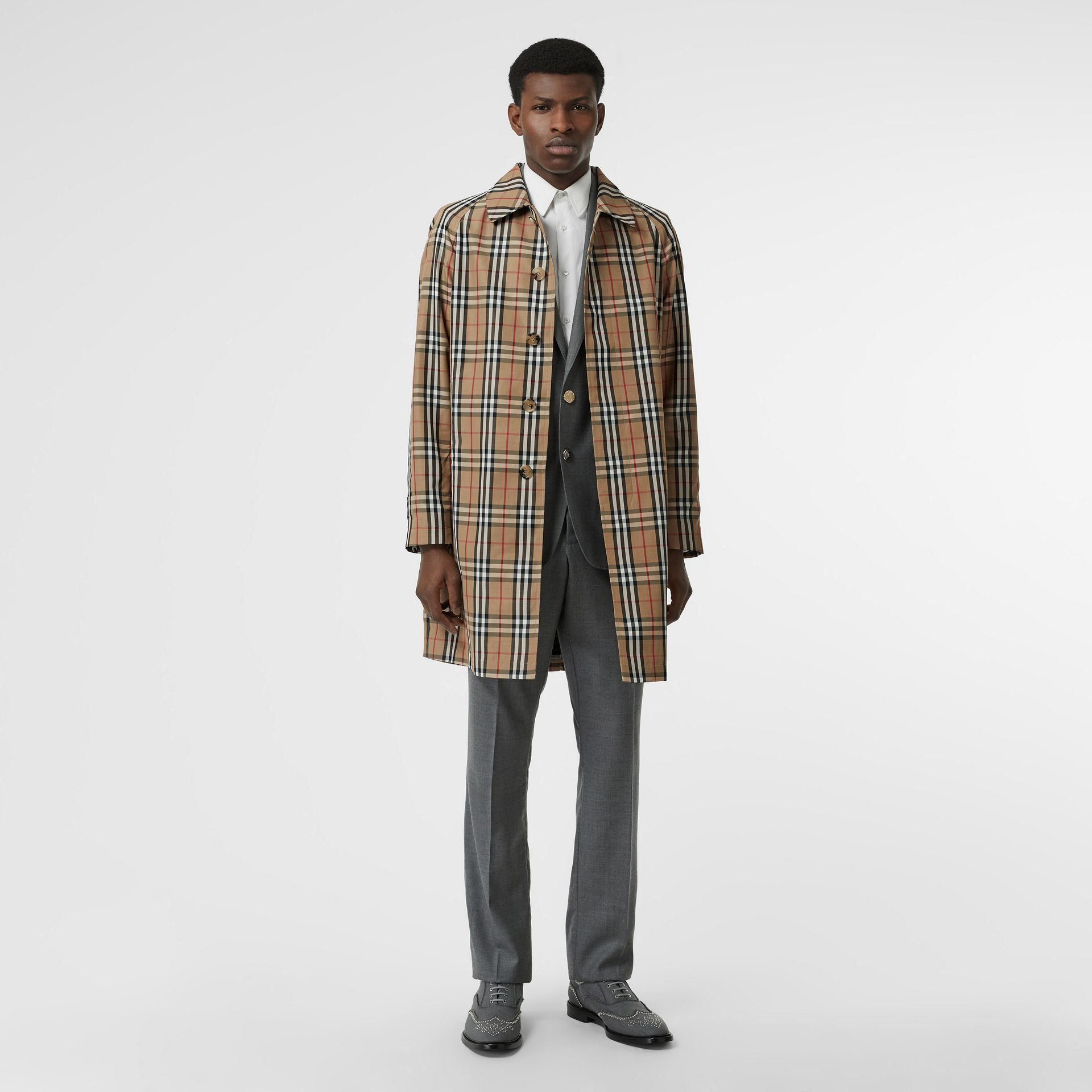 Vintage Check Car Coat in Archive Beige - Men | Burberry Australia - gallery image 0
