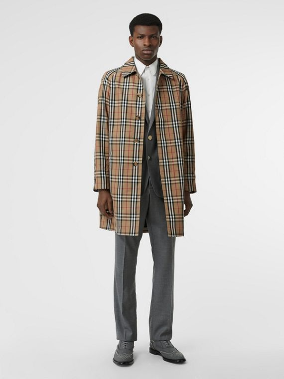 Vintage Check Car Coat in Archive Beige
