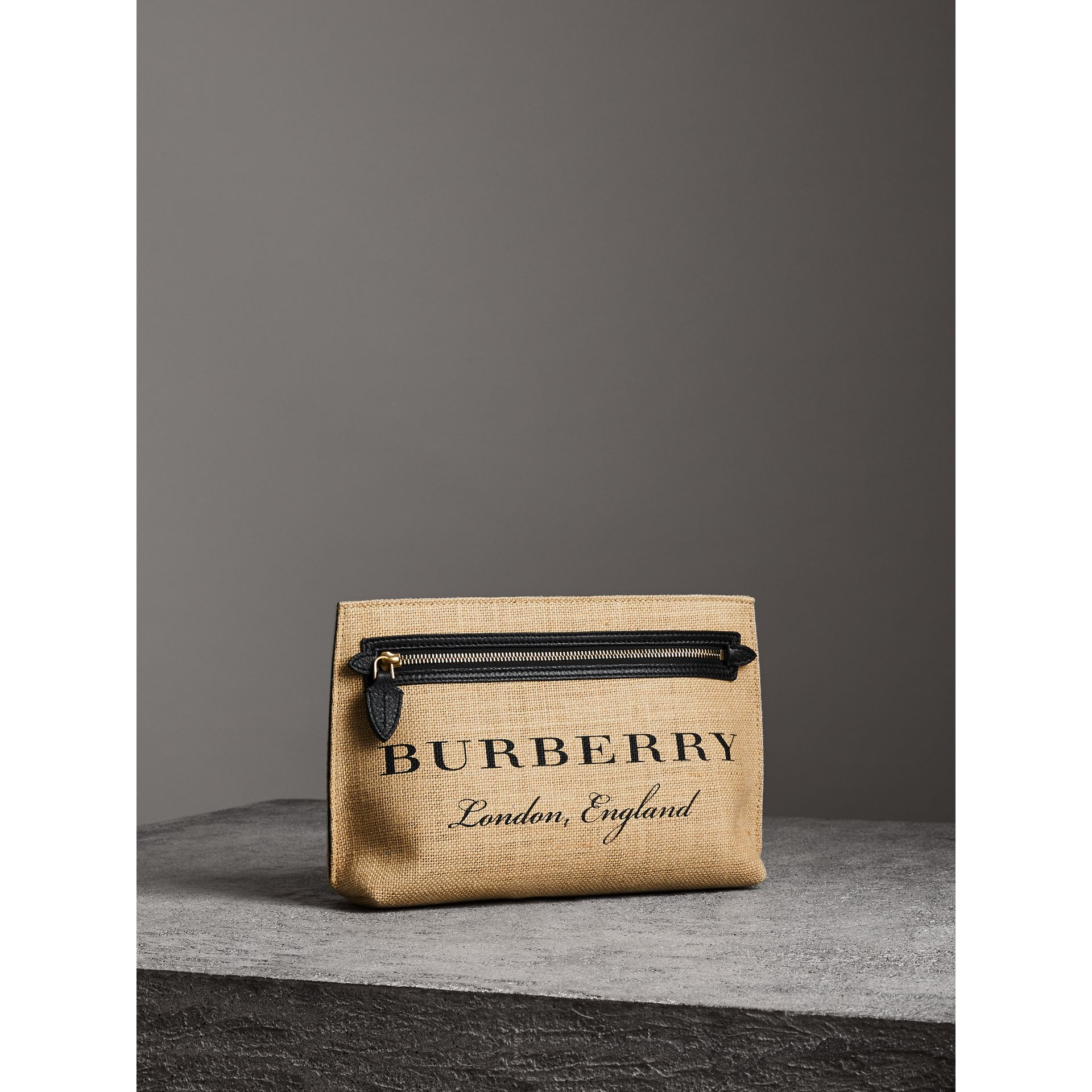 Logo Print Jute Wristlet Clutch in Black - Women | Burberry United States - gallery image 7
