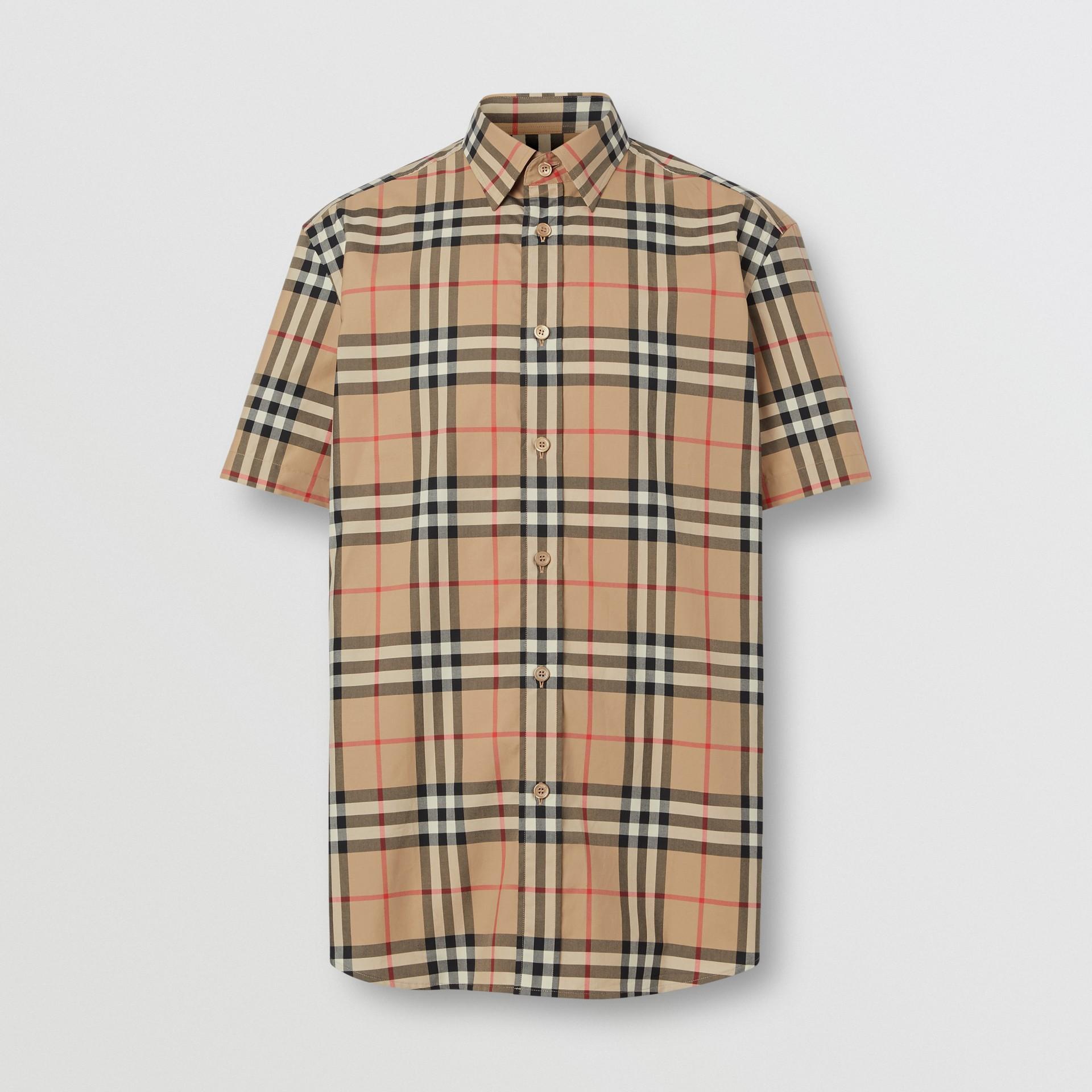 Short-sleeve Check Cotton Poplin Shirt in Archive Beige - Men   Burberry United Kingdom - gallery image 3