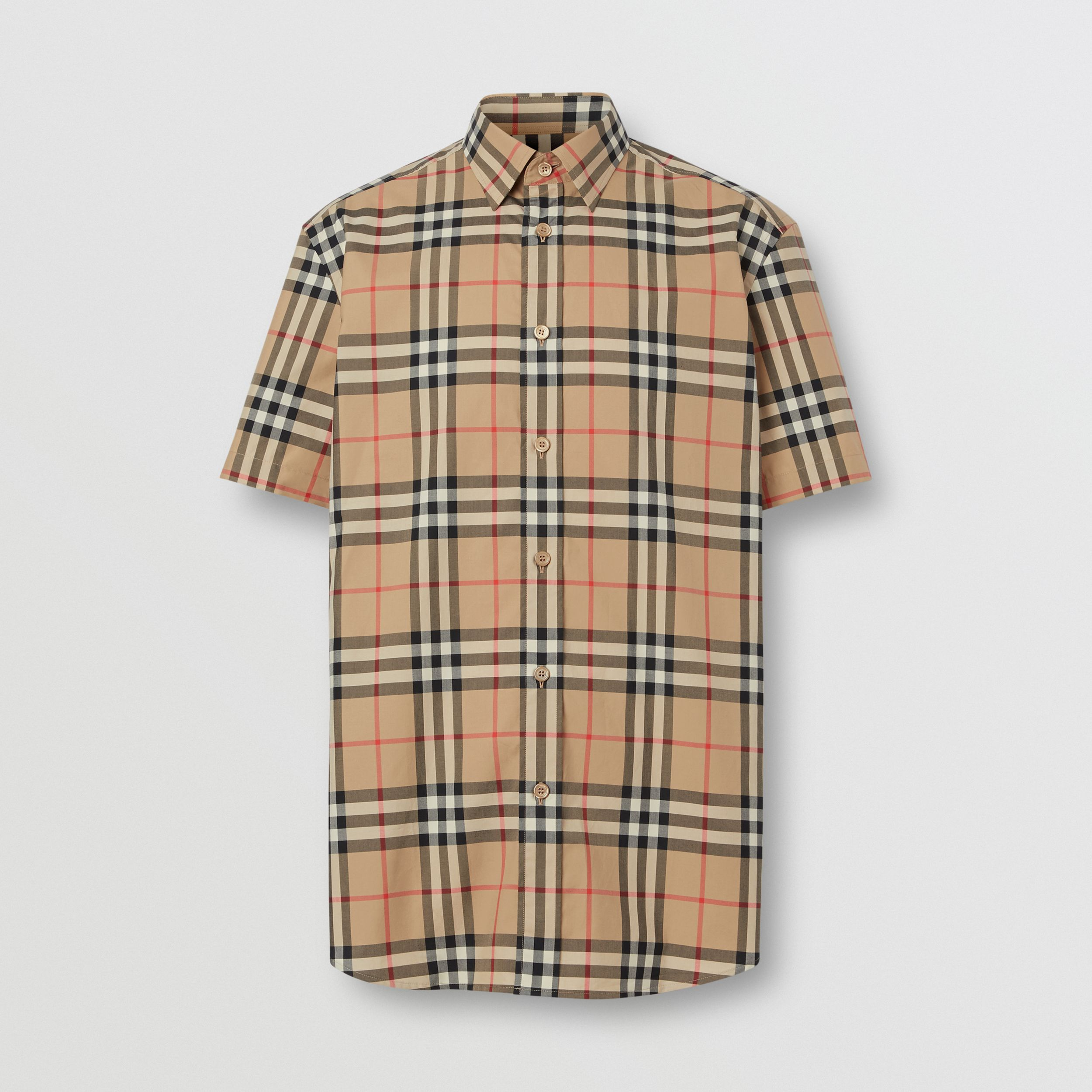 Short-sleeve Check Cotton Poplin Shirt in Archive Beige - Men | Burberry - 4