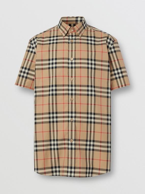 Camisa de manga corta en popelina de algodón a cuadros (Beige Vintage)