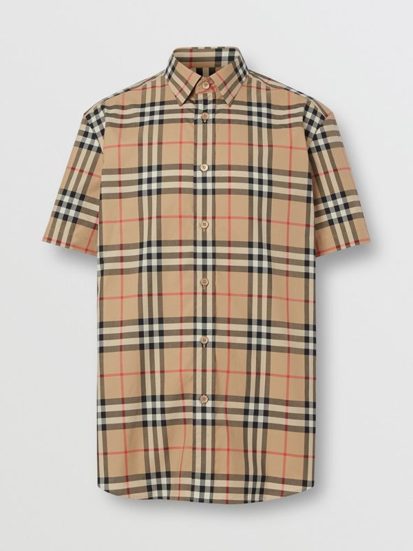 Short-sleeve Check Cotton Poplin Shirt in Archive Beige - Men   Burberry United Kingdom - cell image 3