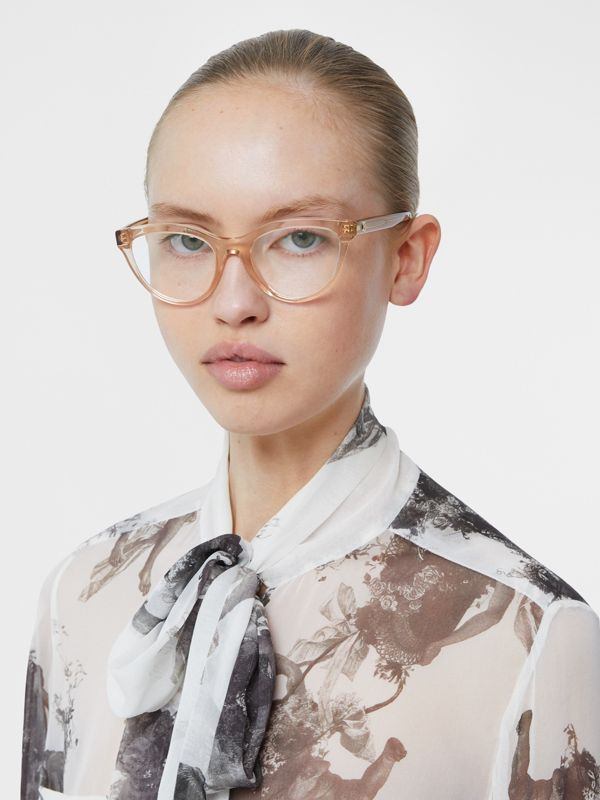 Monogram Motif Cat-eye Optical Frames in Transparent Peach - Women | Burberry United States - cell image 2