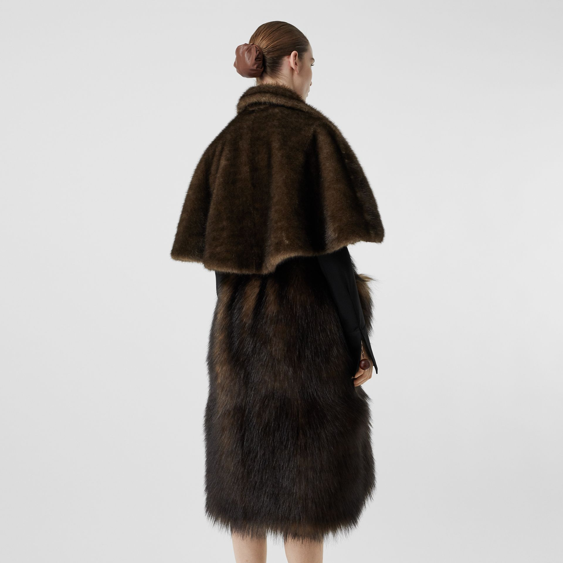 Faux Fur Cape Coat in Brown - Women | Burberry - gallery image 2