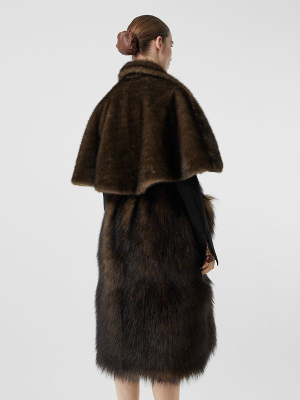Faux Fur Cape Coat in Brown - Women | Burberry - cell image 2