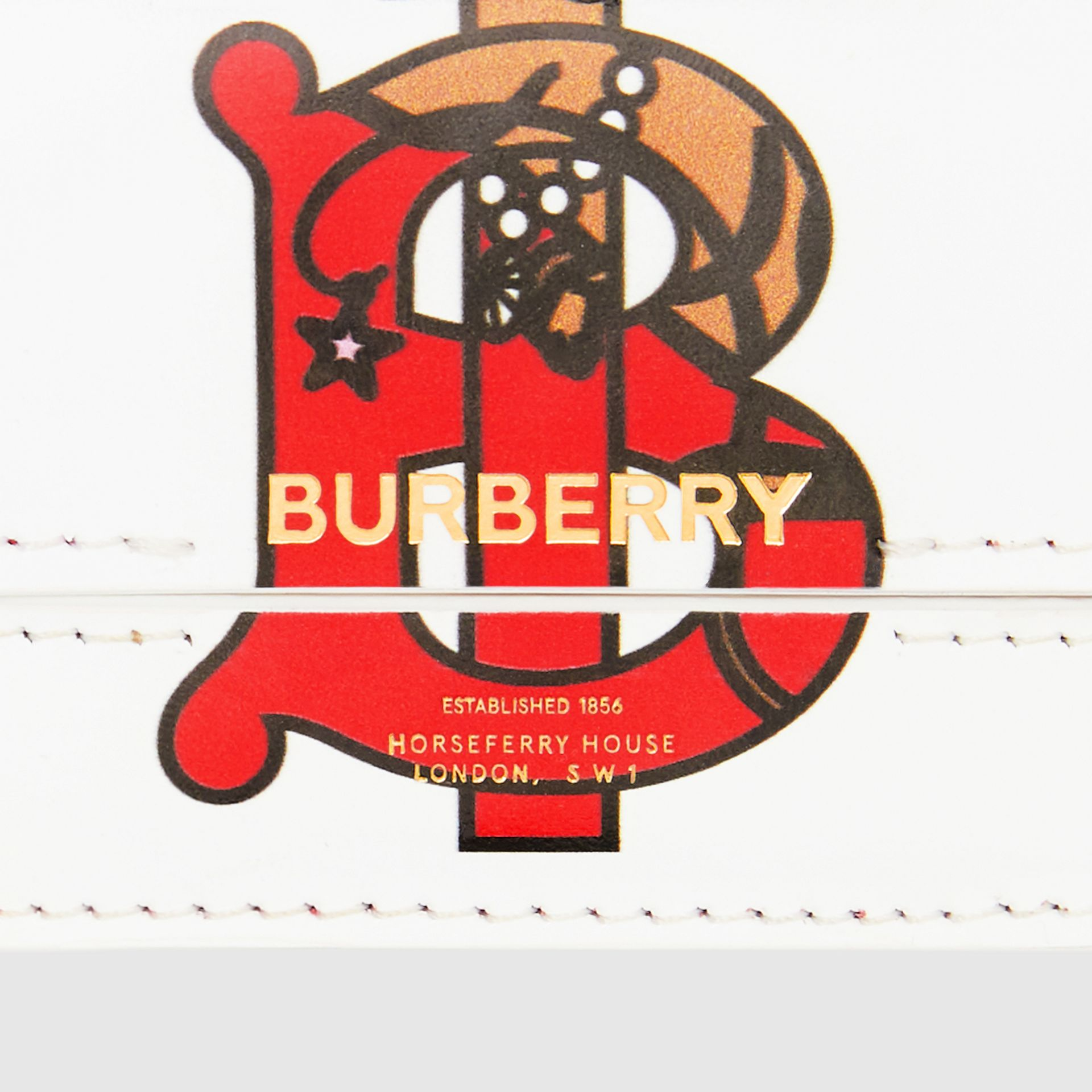 Porte-cartes en cuir Monogram avec sangle en chaîne (Blanc) | Burberry - photo de la galerie 14
