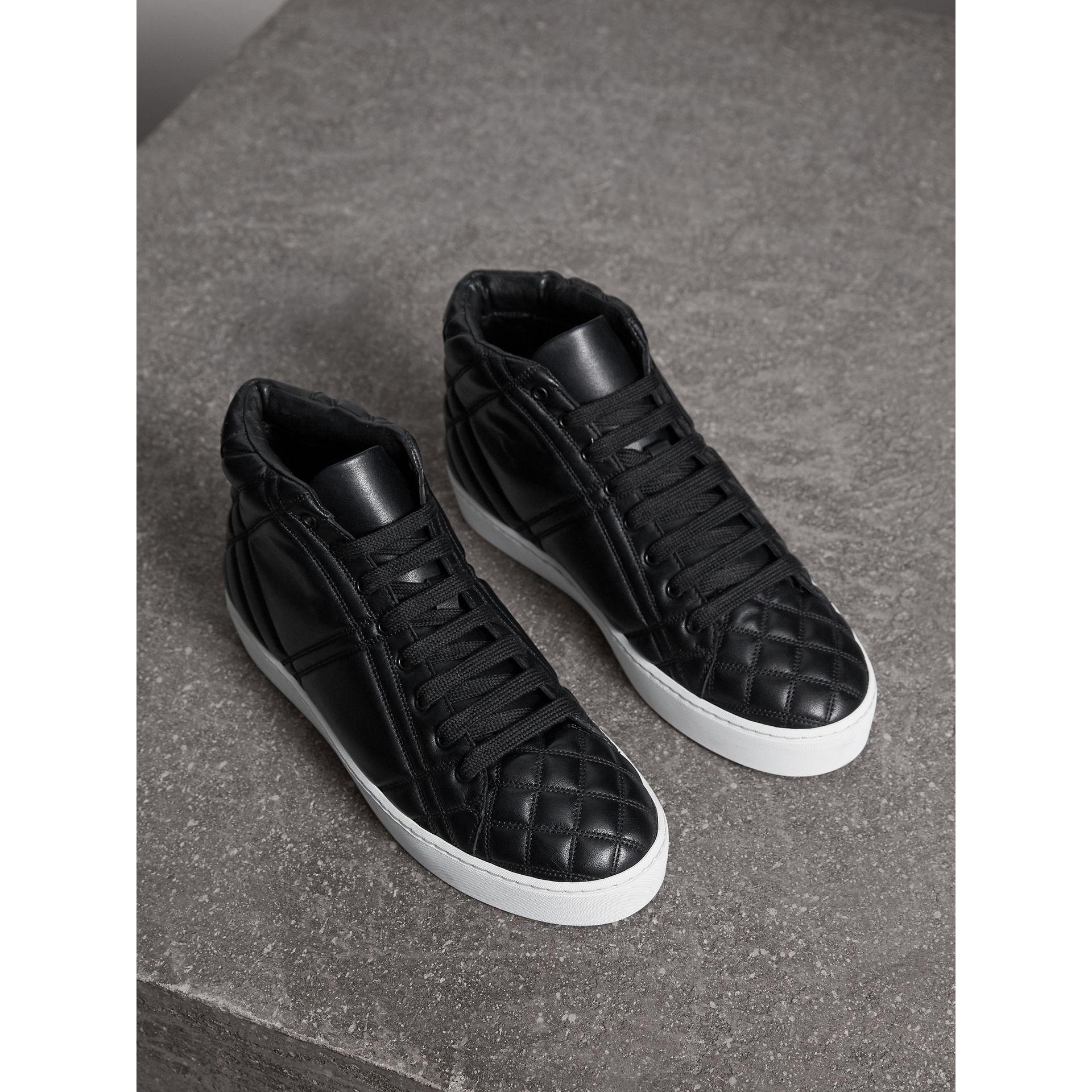 Check-quilted Leather High-top Trainers in Black - Women | Burberry - gallery image 1