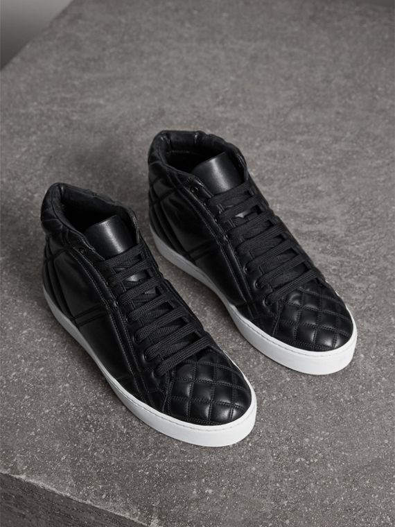 Check-quilted Leather High-top Trainers in Black