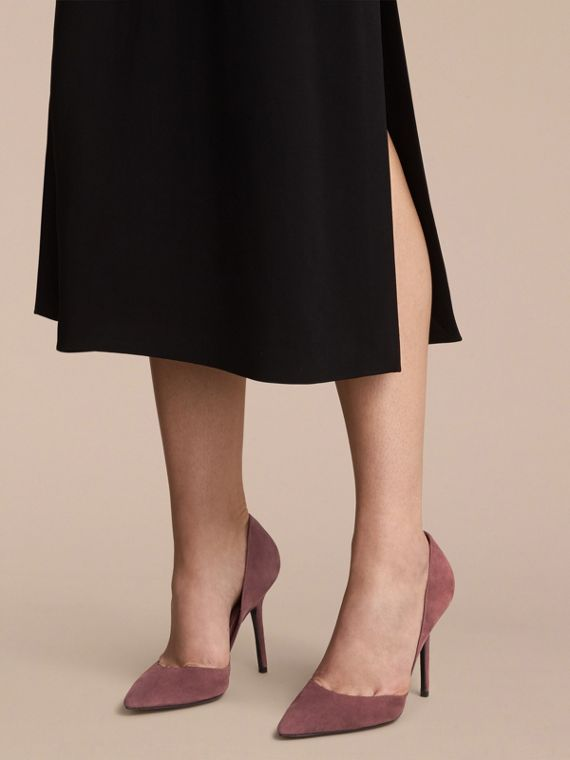 Point-toe Suede D'Orsay Pumps in Taupe Rose - Women | Burberry - cell image 2