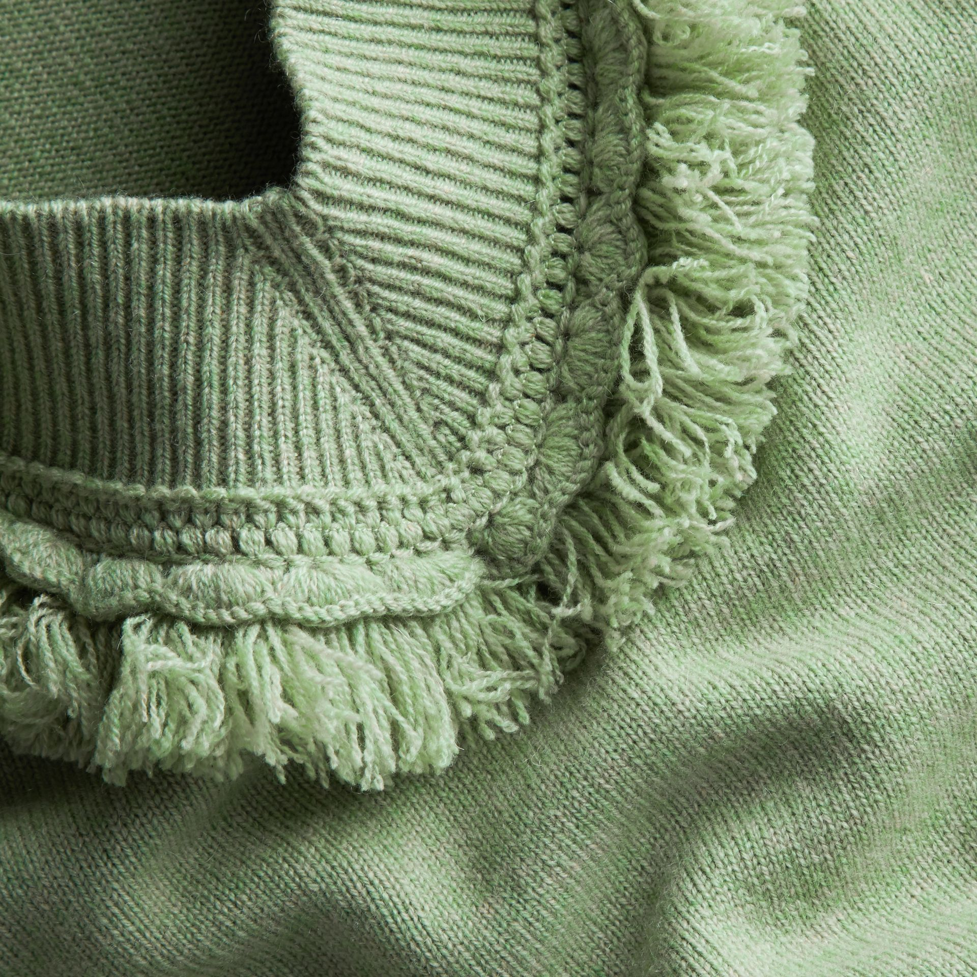 Fringed Off-the-shoulder Cashmere Sweater in Apple Green - gallery image 2