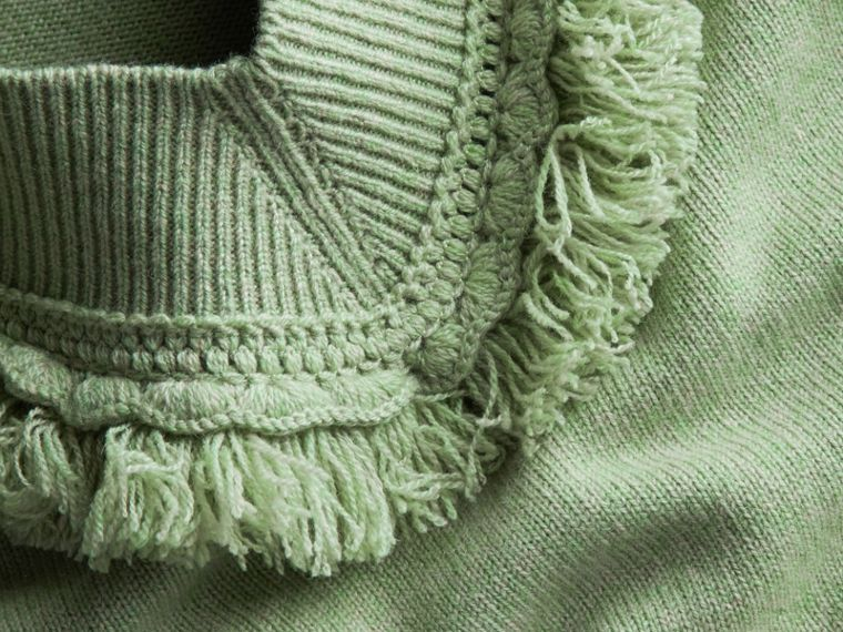 Fringed Off-the-shoulder Cashmere Sweater in Apple Green - cell image 1