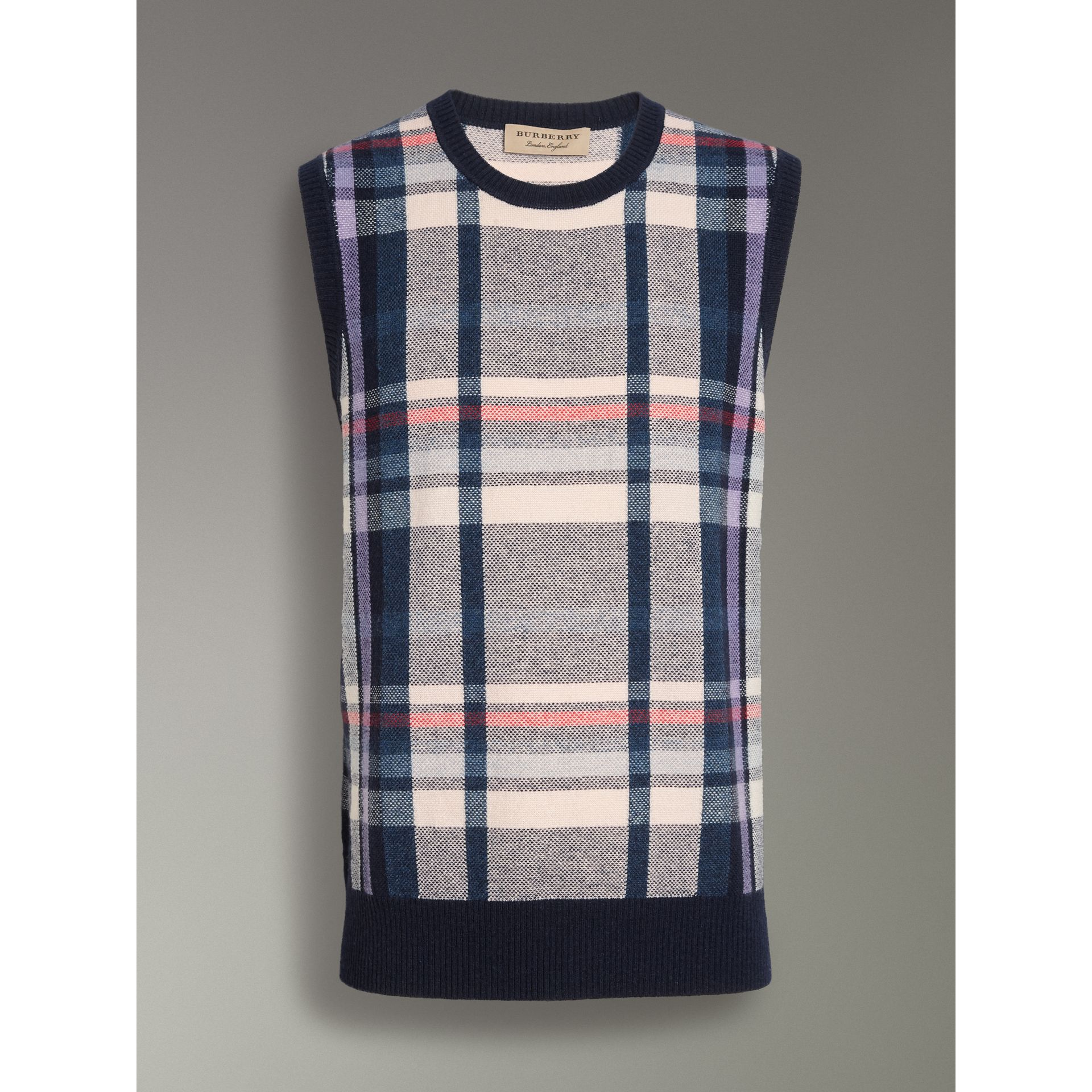 Check Cashmere Tank Top in Bright Navy - Men | Burberry United Kingdom - gallery image 3