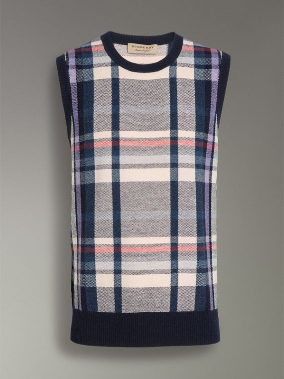 Check Cashmere Tank Top in Bright Navy - Men | Burberry United States - cell image 3