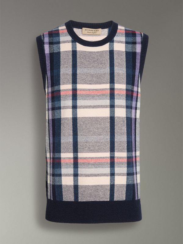 Check Cashmere Tank Top in Bright Navy - Men | Burberry United Kingdom - cell image 3