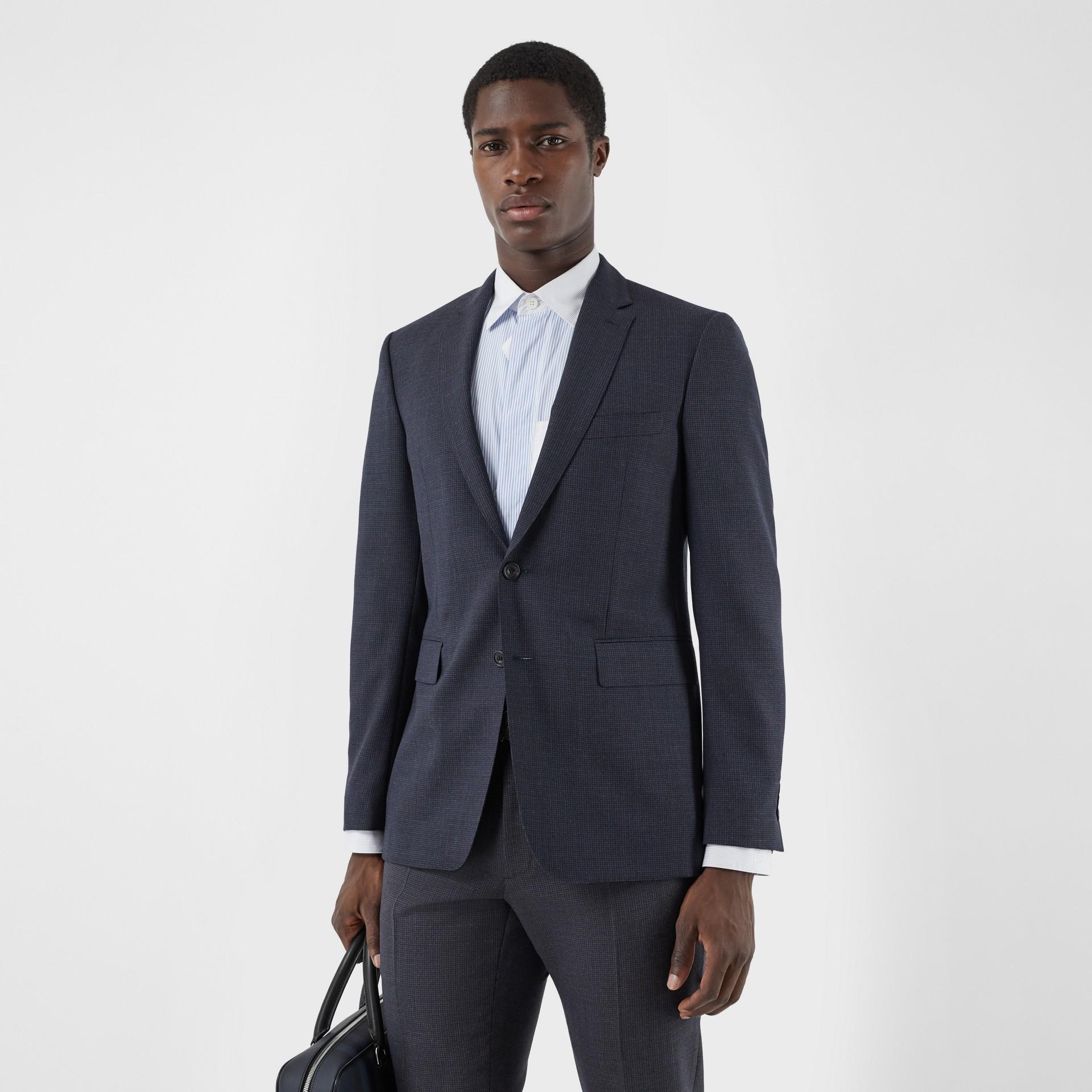 Slim Fit Wool Suit in Navy - Men | Burberry Australia - gallery image 6