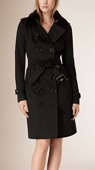 Fur Collar Cotton Trench Coat
