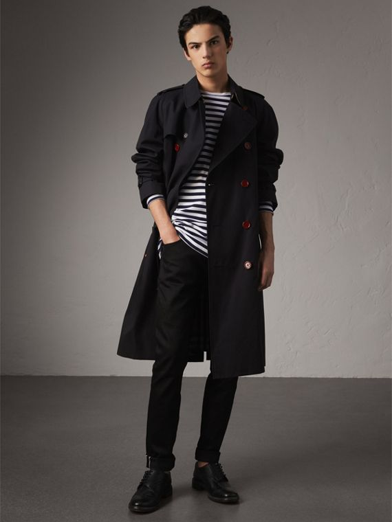 Extra-long Resin Button Cotton Gabardine Trench Coat in Navy
