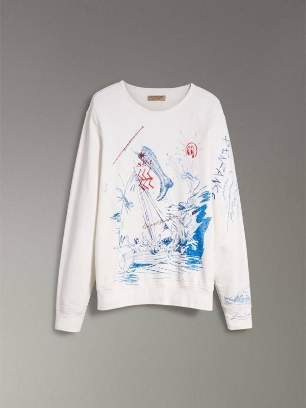 Adventure Print Cotton Sweatshirt in Natural White - Men | Burberry Australia - cell image 3