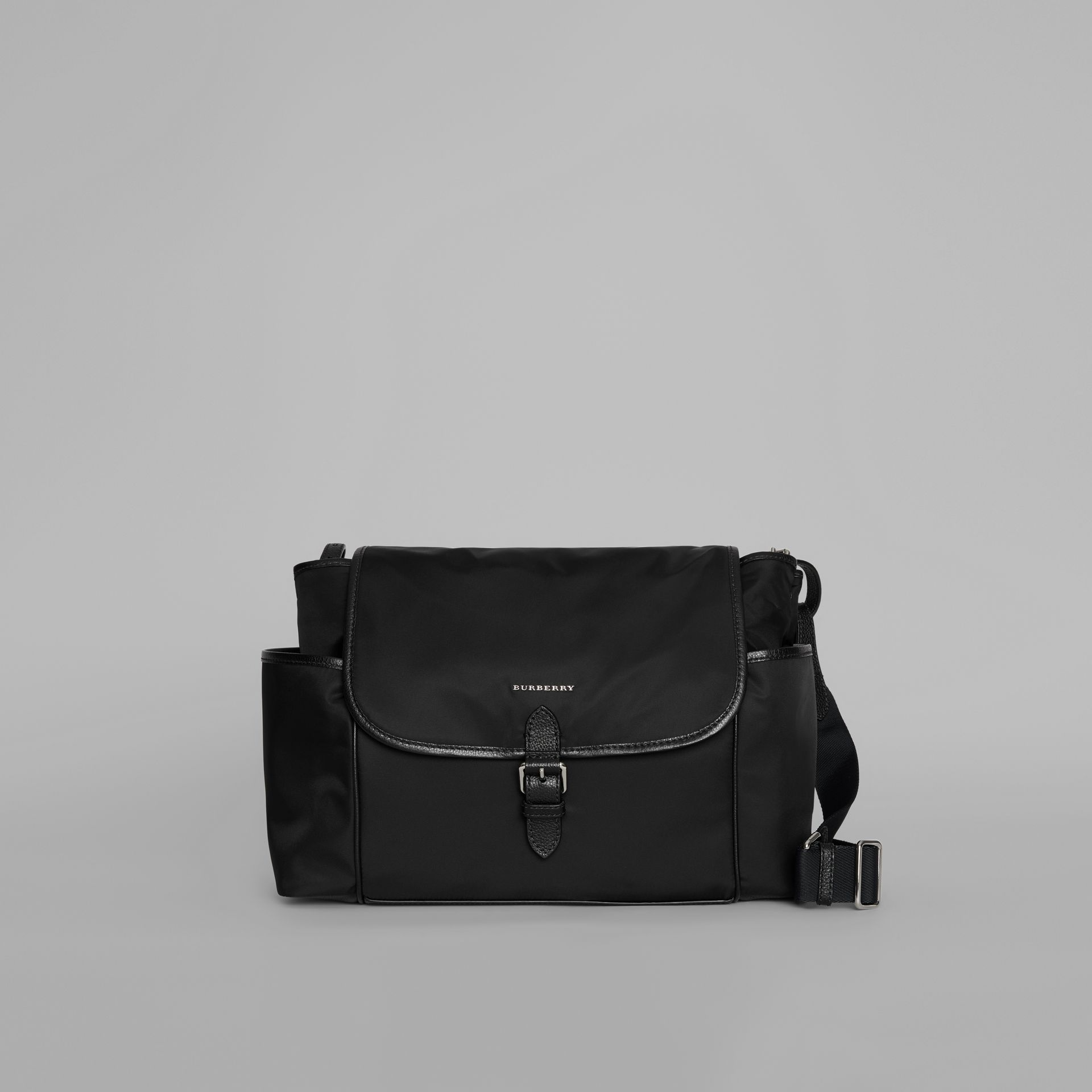 Leather Trim Baby Changing Shoulder Bag in Black - Children | Burberry Canada - gallery image 0