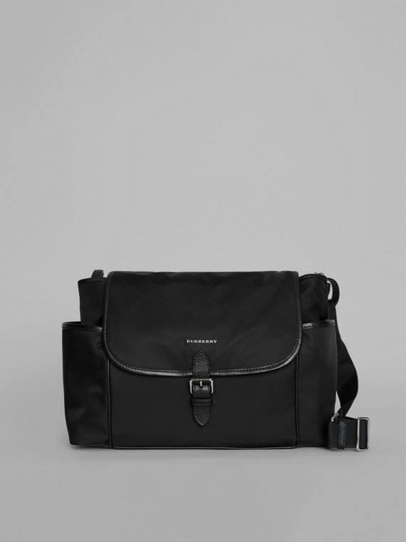 Leather Trim Baby Changing Shoulder Bag in Black