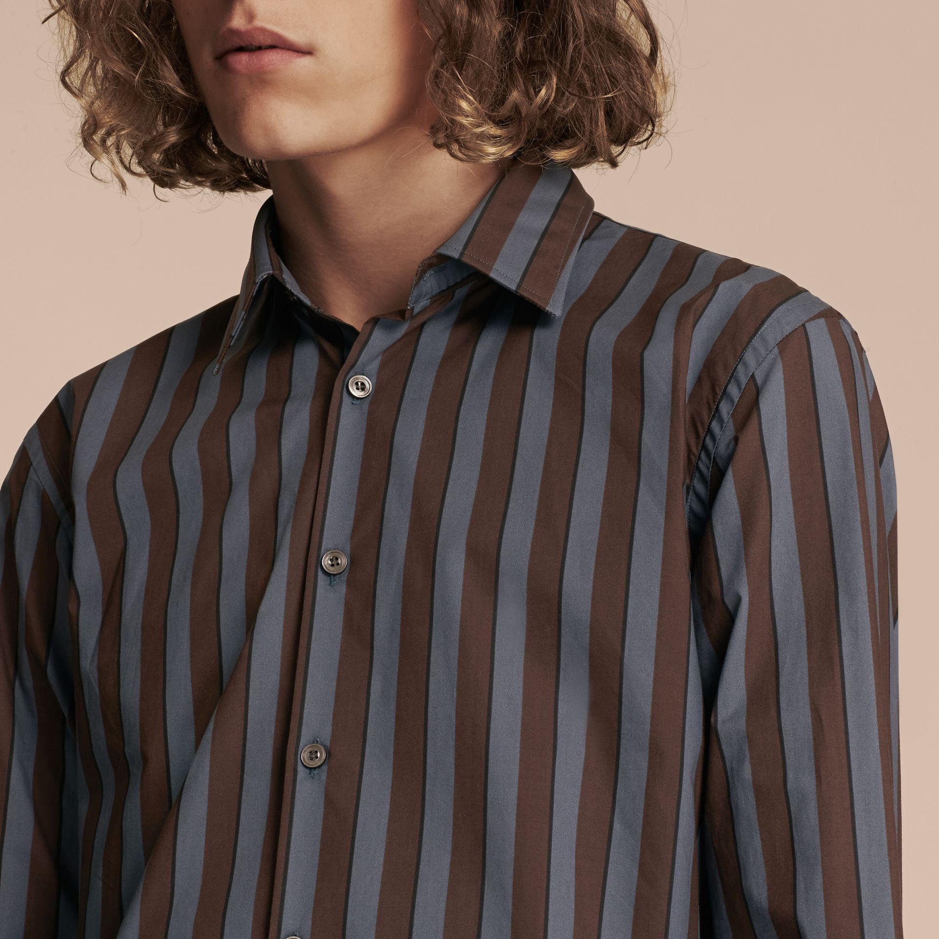 Navy Slim Fit Pyjama Stripe Cotton Poplin Shirt - gallery image 5