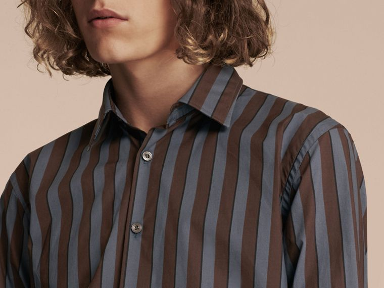Navy Slim Fit Pyjama Stripe Cotton Poplin Shirt - cell image 4