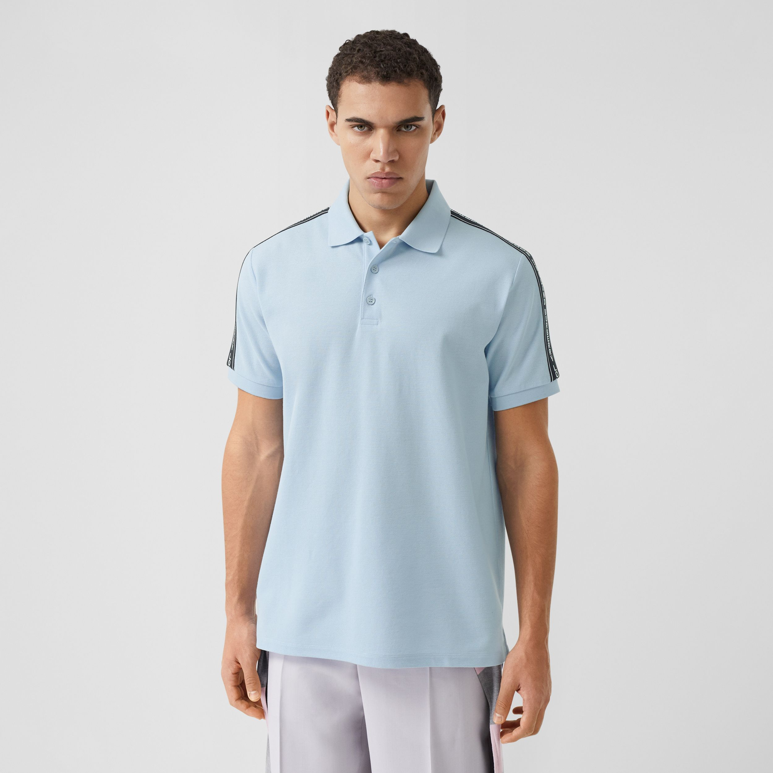 Logo Tape Cotton Piqué Polo Shirt in Pale Blue - Men | Burberry - 1