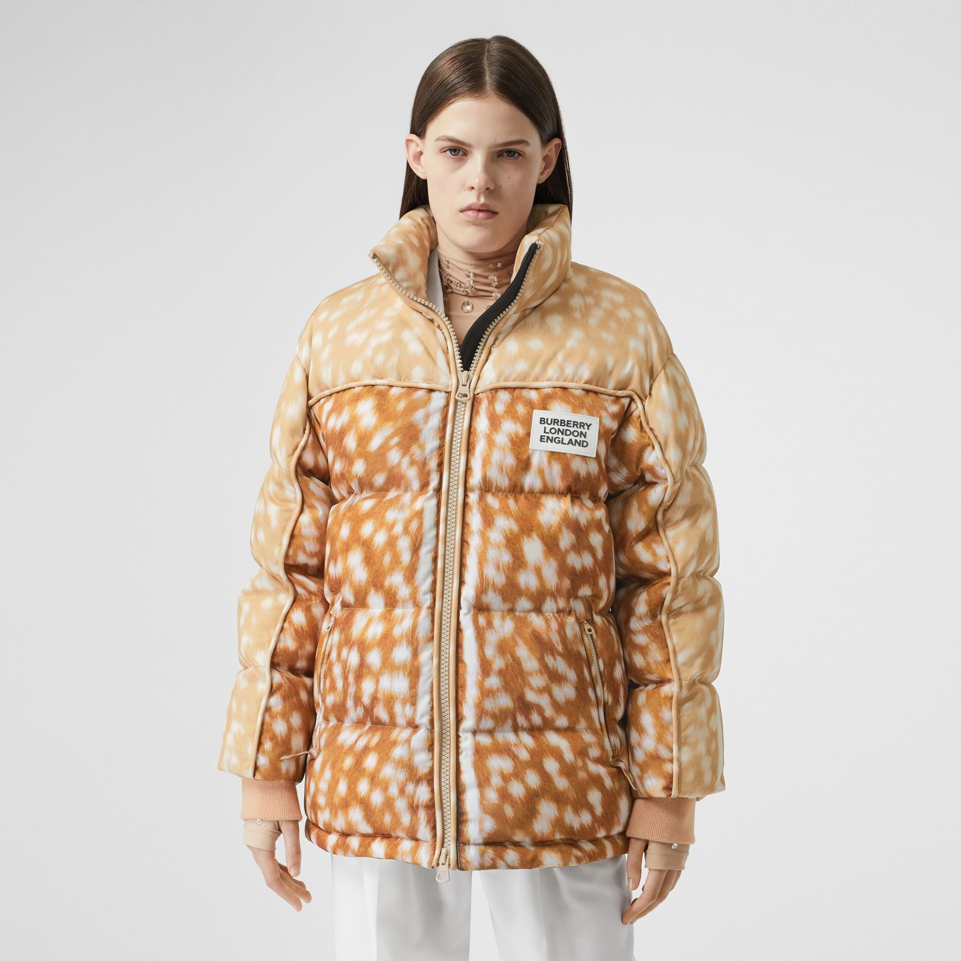 Deer Print ECONYL® Puffer Jacket in Honey - Women | Burberry - gallery image 5