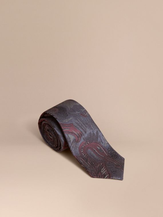 Slim Cut Beasts Jacquard Silk Tie in Navy Grey