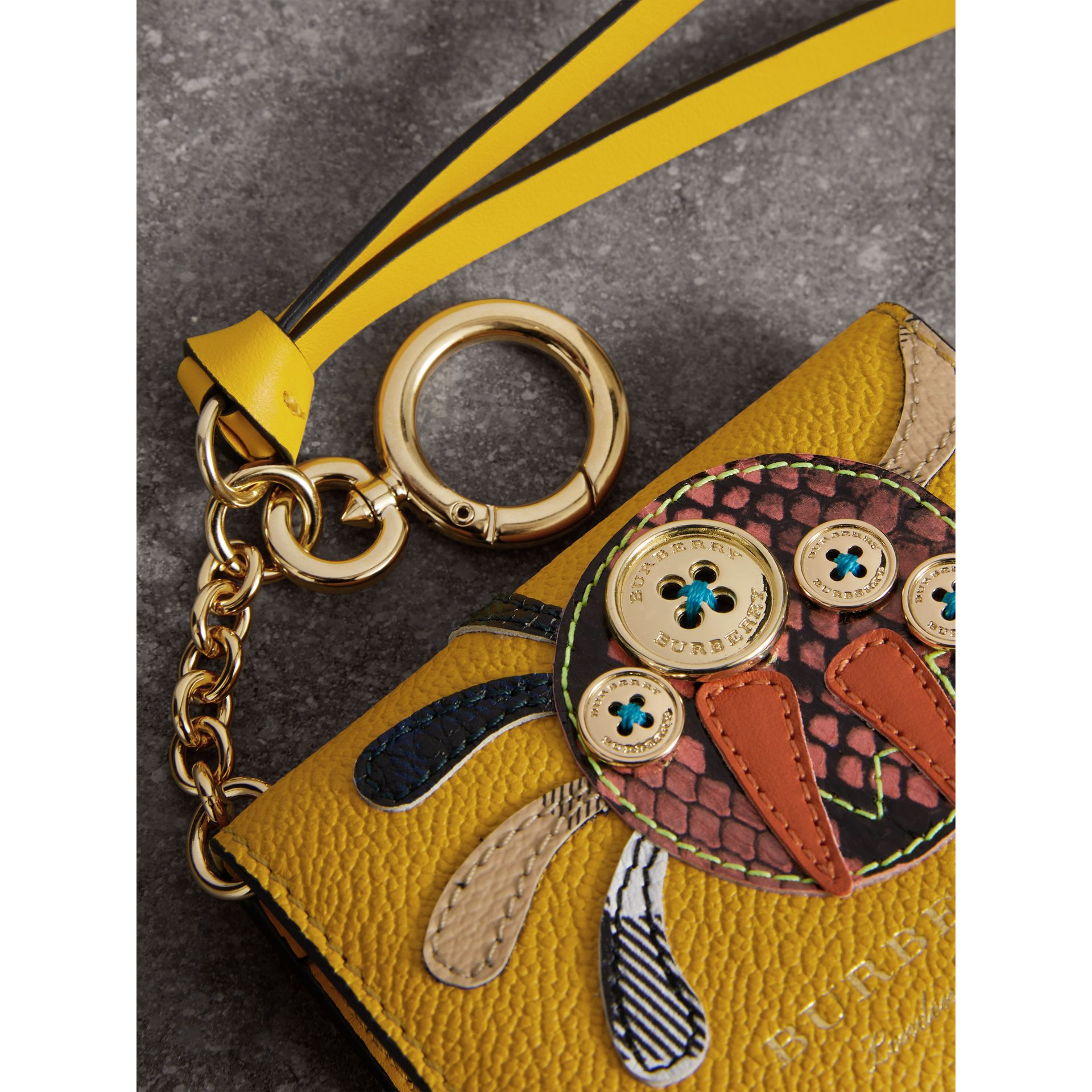 Creature Motif Leather ID Card Case Charm in Yellow Ochre - Women | Burberry - gallery image 1