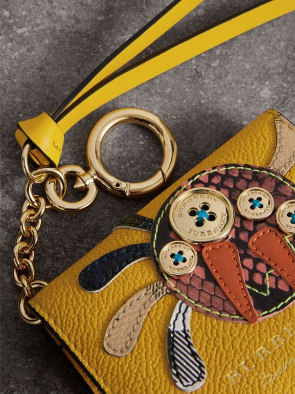 Creature Motif Leather ID Card Case Charm in Yellow Ochre | Burberry United Kingdom - cell image 1