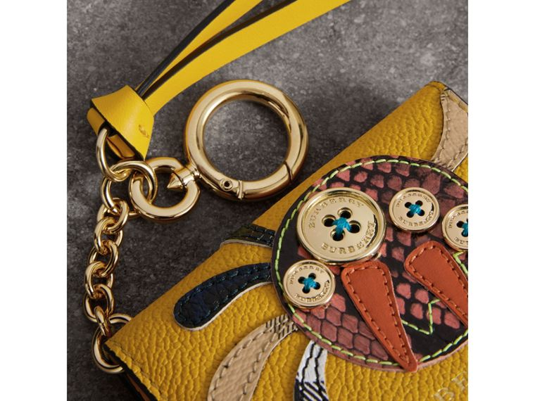 Creature Motif Leather ID Card Case Charm in Yellow Ochre | Burberry - cell image 1