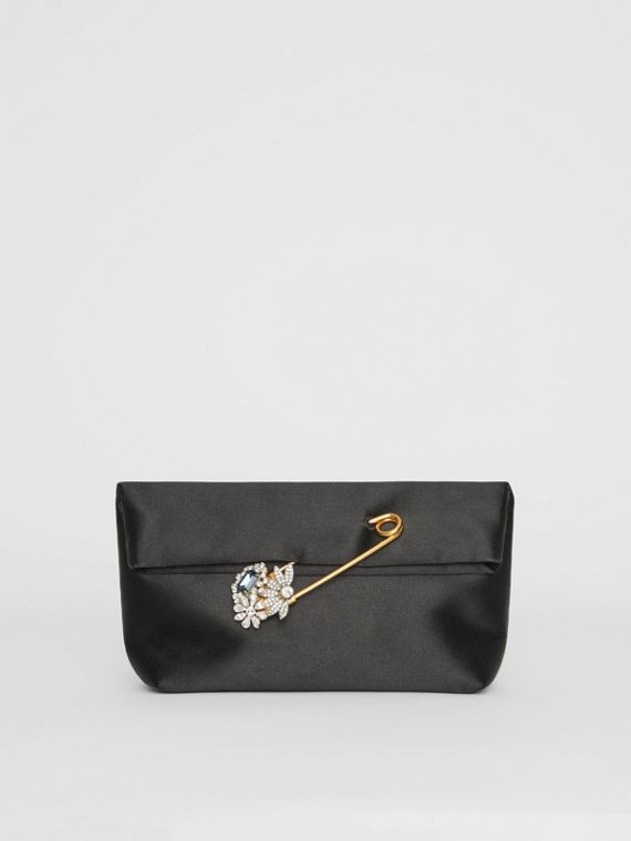 The Small Pin Clutch in Satin in Black