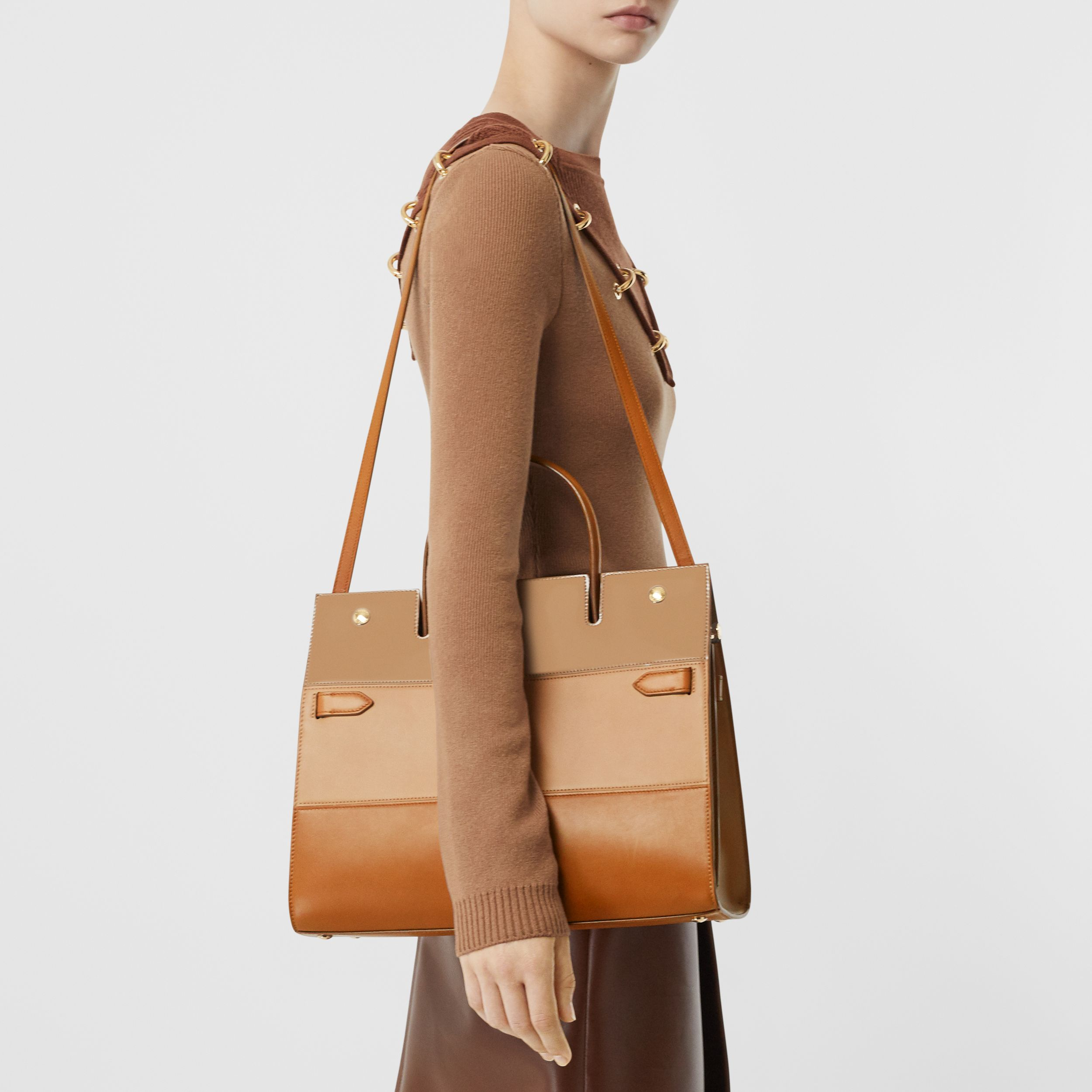 Medium Panelled Leather Title Bag in Soft Fawn - Women | Burberry - 3