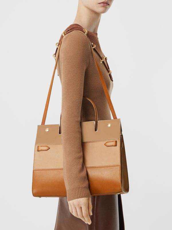 Medium Panelled Leather Title Bag in Soft Fawn - Women | Burberry - cell image 2